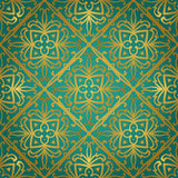 Abstract gold ornament. Abstract gold ornament on a turquoise background. Vector ornate oriental pattern. Template for carpet, textile, wallpaper, tile, mosaic vector illustration