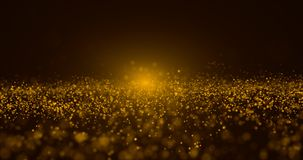 Abstract Gold Particle and gold bokeh background stock images