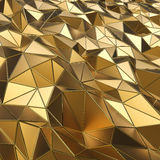 Abstract gold polygons 3D background. Royalty Free Stock Images