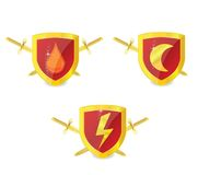 Abstract gold power emblems set Royalty Free Stock Photography