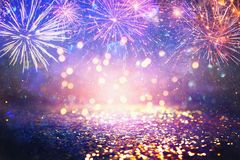Free Abstract Gold, Purple And Blue Glitter Background With Fireworks. Christmas Eve, 4th Of July Holiday Concept Stock Image - 158512991