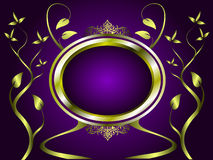 Abstract Gold and Purple Floral Vector Design Stock Photography