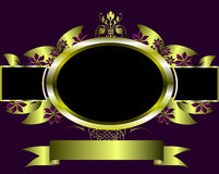 Abstract Gold and Purple Floral Vector Design Stock Photos