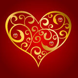 Abstract gold red heart pattern illustration. Vector Stock Images