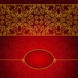 Abstract gold and red invitation frame. With lace ornament Stock Photography