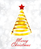 Abstract Gold Ribbon Christmas Tree On White Background Stock Photo