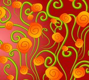 Abstract Gold Roses Background. An abstract background pattern featuring colorful gold orange roses and green stems casually arranged against red gradient Royalty Free Stock Photos