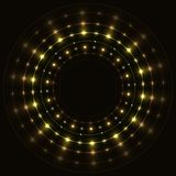 Abstract gold round frame. Abstract gold round sparkling frame on black background Royalty Free Stock Images