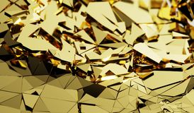 Abstract Gold Shattered Surface Background Stock Photography