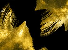 Free Abstract Gold Shimmer Strokes On Black Background Stock Photo - 164551410