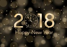 Abstract gold shining New Year 2018 concept on black ambient blurred background. Luxury design Royalty Free Stock Photo