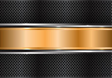 Abstract gold silver banner on black circle mesh design modern luxury background vector Stock Photos