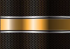 Abstract gold silver black line banner overlap on metal hexagon mesh design modern luxury futuristic background vector. Illustration Royalty Free Stock Photo
