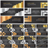 Abstract gold, silver and bronze banner template design set Stock Photo