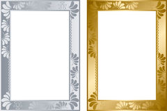 Abstract gold and silver frame royalty free illustration