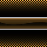 Abstract gold silver label on checkered gradient black pattern design racing background vector Stock Images