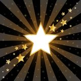 Abstract Gold Stars On Dark Background Stock Photo