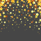 Abstract Gold Stars On The Grey Background Stock Photography
