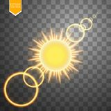 Abstract gold Sun and energy ring on transparent background. Sun Royalty Free Stock Images