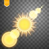 Abstract gold Sun and energy ring on transparent background. Sun Stock Photography