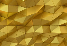 Abstract gold surface. Futuristic background. With low poly shapes. 3D rendering Royalty Free Stock Image