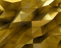 Abstract gold surface. Futuristic background. With low poly shapes. 3D rendering Stock Photography