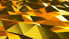 Abstract gold triangular crystalline background animation. Seamless loop.  stock footage
