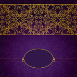 Abstract gold and violet invitation frame. Abstract gold and violet invitation lace frame Royalty Free Stock Photo
