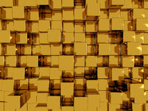 Abstract gold wallpaper. Gold, shiny blocks abstract background royalty free illustration