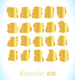 Abstract gold watercolor vector blots set Royalty Free Stock Photography