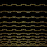 Abstract gold wave pattern. Monochrome black wallpaper. Royalty Free Stock Photos