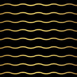 Abstract gold wave pattern. Monochrome black wallpaper. Royalty Free Stock Photography