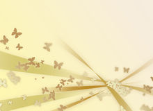 Abstract  golden background with butterflies Stock Image