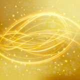 Abstract golden background with laser line sparkling shiny stars and blurs. Vector Stock Photo