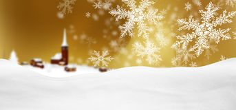 Abstract Golden Background Panorama Winter Landscape with Fallin. G Filigree Snowflakes. Snowy Ground with Fresh Snow. Winter Holiday Season Backdrop Template stock illustration