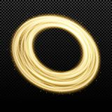 Abstract golden banner of swirling bands and particles on a dark transparent background. Fantastic circle. Christmas magic funnel. Royalty Free Stock Photo