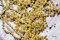 Abstract golden beads background Stock Photo