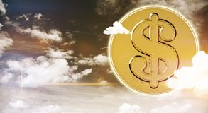 Wealth and rich concept. Abstract golden bitcoin on sky background with clouds. Wealth and rich concept. 3D Rendering royalty free stock photos
