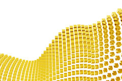 Abstract golden blocks. Abstract wave with golden blocks - isolated royalty free stock photo