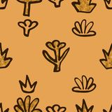 Abstract Golden blossoms. Seamless pattern background for bedspreads. Flowers vector illustration vector illustration