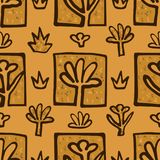 Abstract Golden blossoms. Seamless pattern background for curtains. Flowers vector illustration royalty free illustration