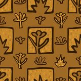 Abstract Golden blossoms. Seamless pattern background for decoupage. Flowers vector illustration Royalty Free Stock Images