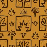Abstract Golden blossoms. Seamless pattern background for scrapbooking. Flowers vector illustration royalty free illustration
