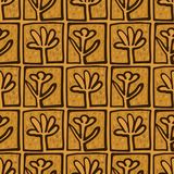 Abstract Golden blossoms. Seamless pattern background for tiles. Flowers vector illustration royalty free illustration