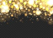 Golden bokeh lights on transparent background. Abstract golden bokeh lights on the transparent background, vector illustration Royalty Free Stock Photography