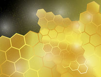 Abstract Golden Bright Yellow Honeycomb Background. Royalty Free Stock Photos