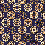 Abstract golden chains circles seamless background. Luxury jewelry pattern vector illustration stock illustration