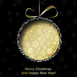 Abstract golden Christmas ball cutted from paper. On black background. Vector eps10 illustration Stock Images