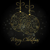Abstract golden christmas balls. Abstract golden hanging christmas balls. Merry Christmas greeting card design template Royalty Free Stock Photography