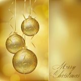 Abstract golden christmas postcard Stock Images